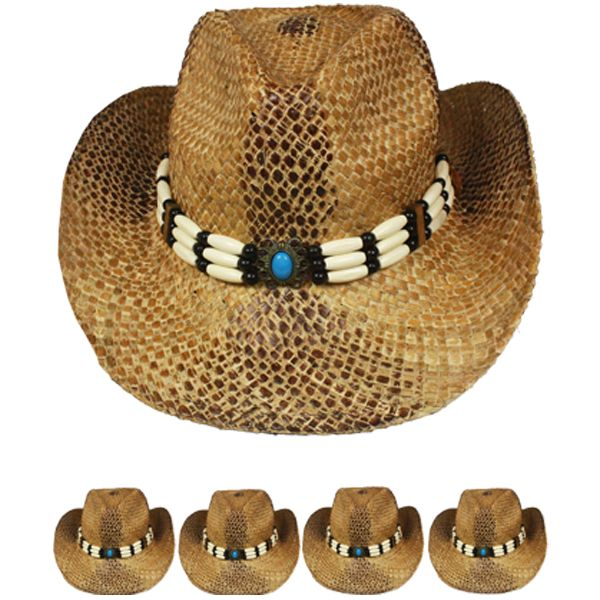Breathable Straw Brown Cowboy Hat with Beaded Band (017)