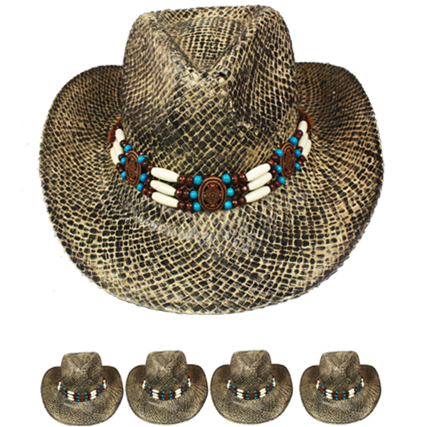 Breathable Straw Olive Green Cowboy Hat with Beaded Band (018)