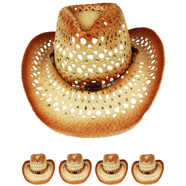 Hollow Breathable Straw Beaded Band Brown Cowboy Hat (020)