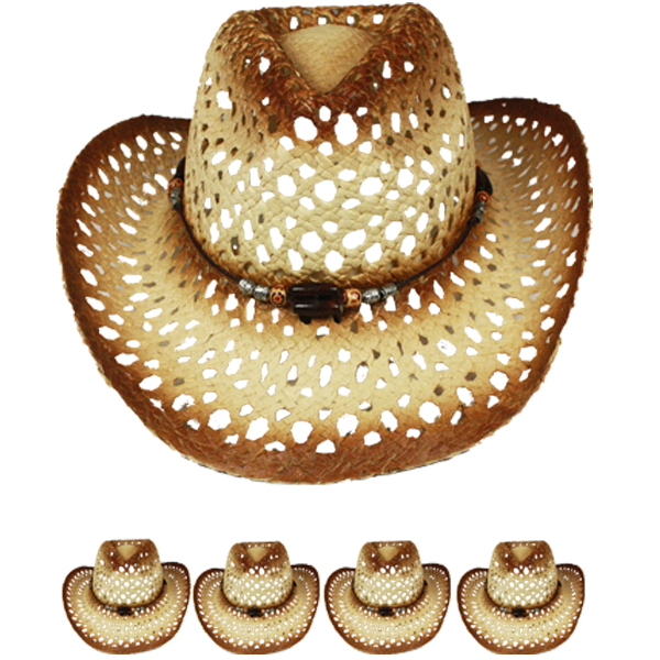Hollow Breathable Straw Beaded Band Brown Cowboy Hat (019)