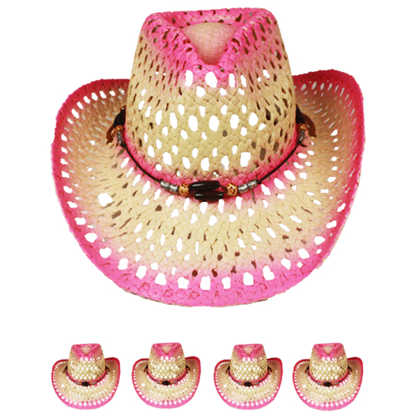 Hollow Breathable Straw Beaded Band Pink Cowboy Hat (021)