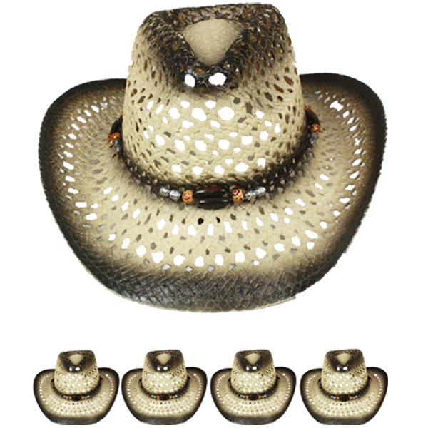Hollow Breathable Straw Beaded Band Shaded Cowboy Hat (022)