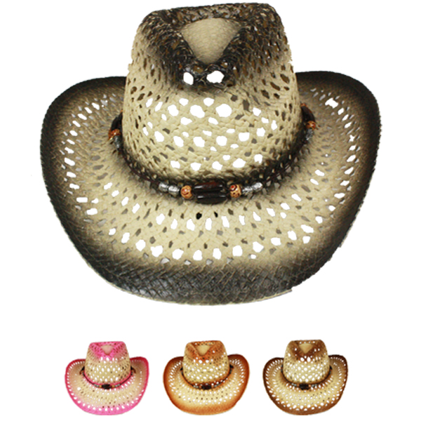 Hollow Breathable Straw Beaded Band Cowboy Hat Set (023)