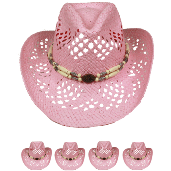 Exotic Pink Hollow Straw Beaded Band Beach Cowboy Hat (024)