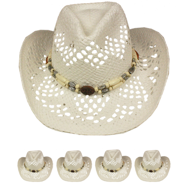 White Hollow Straw Beaded Band Beach Cowboy Hat (026)