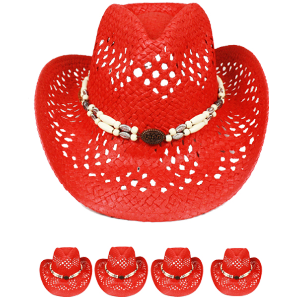 Hot Red Hollow Straw Beaded Band Beach Cowboy Hat (027)