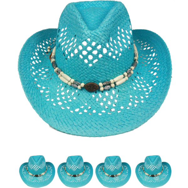 Cool Blue Hollow Straw Beaded Band Beach Cowboy Hat (028)