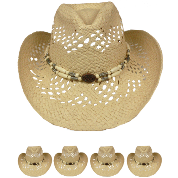 Light Brown Hollow Straw Beaded Band Beach Cowboy Hat (029)