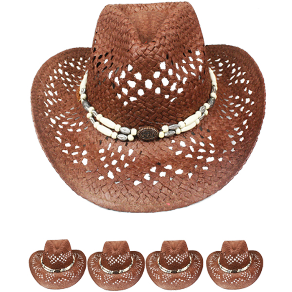 Hollow Straw Beaded Band Brown Cowboy Beach Hat (030)