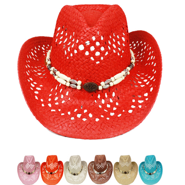 Hollow Straw Beaded Band Cowboy Beach Hat Set (031)