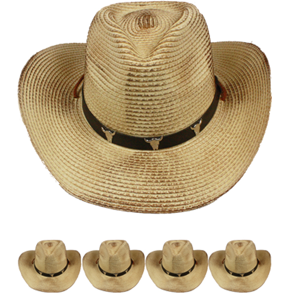 Brown Black Raffia Straw Bull Band Western Cowboy Hat (033)