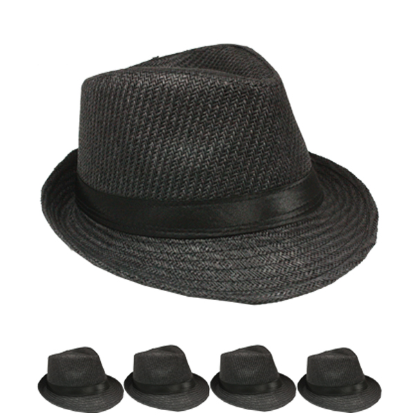 Black Straw Trilby Fedora Hat Set with Ribbon Band (099)