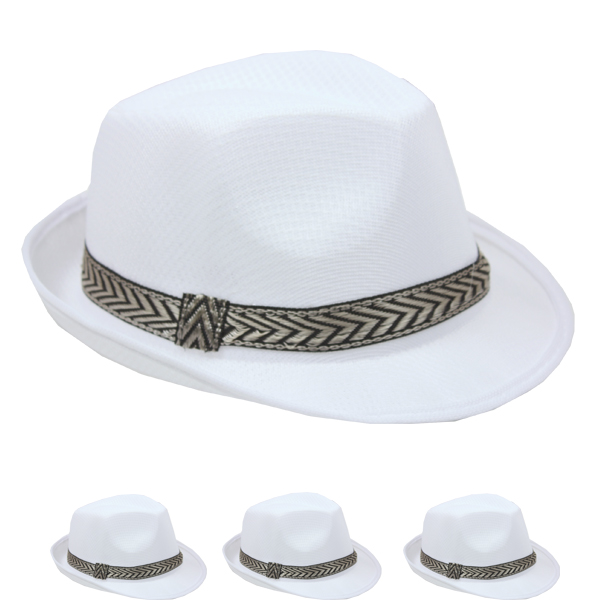 Plain White Color Gangster Trilby Fedora Straw Hat (075)