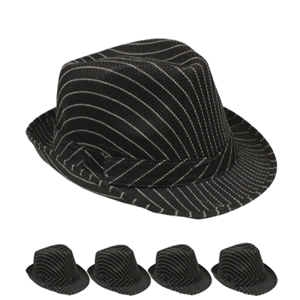 White Pinstripes Black Trilby Fedora Hat (080)
