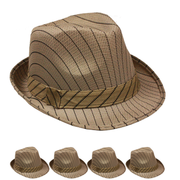 Black Pinstripes Brown Trilby Fedora Hat (083)
