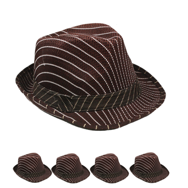 White Pinstripes Brown Trilby Fedora Hat (084)