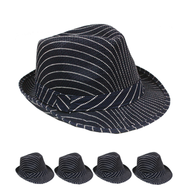 White Pinstripes Black Trilby Fedora Hat (085)