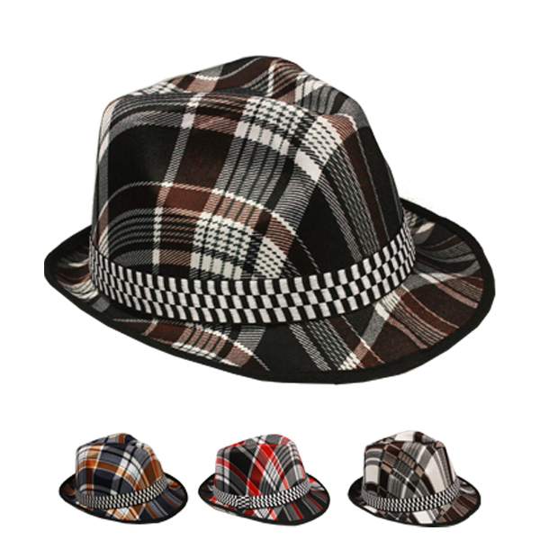 Plaid Letter Print Trilby Fedora Hat with Checkered Band (087)