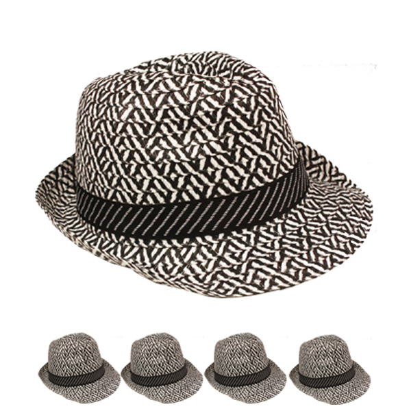Black & White Retro Checker Trilby Fedora Hat (092)