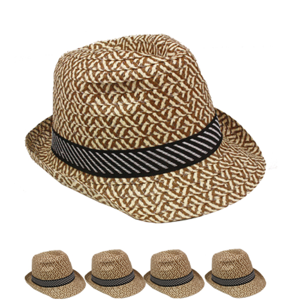 Brown Retro Checker Trilby Fedora Hat with Sweatband (093)