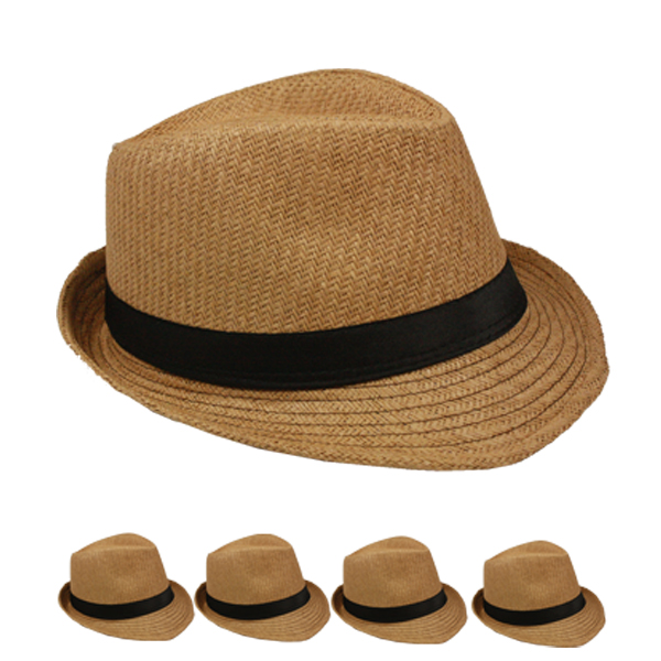 Brown Straw Trilby Fedora Hat with Black Ribbon Band (101)