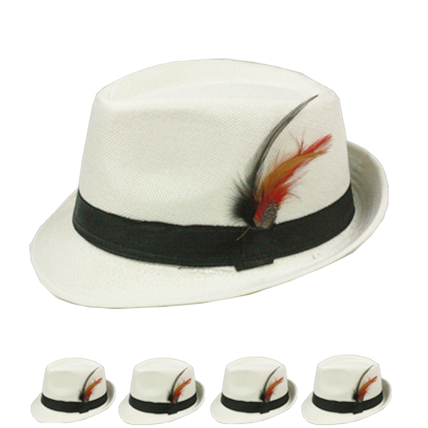 Blank Banded White Trilby Fedora Hat with Feather (103)