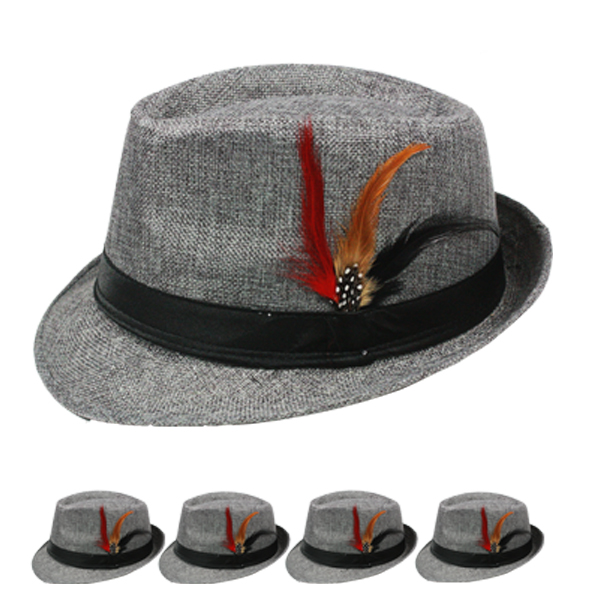 Black Banded Gray Trilby Fedora Hat with Feather (104)