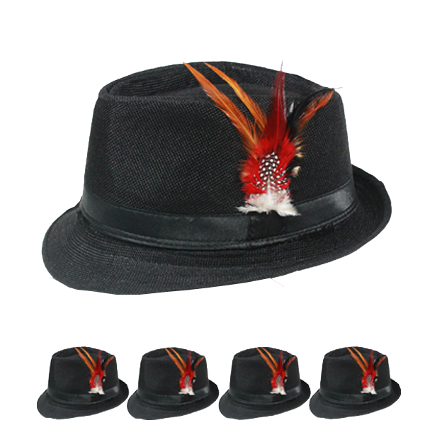 Crushable Black Trilby Fedora Hat with Feather (105)