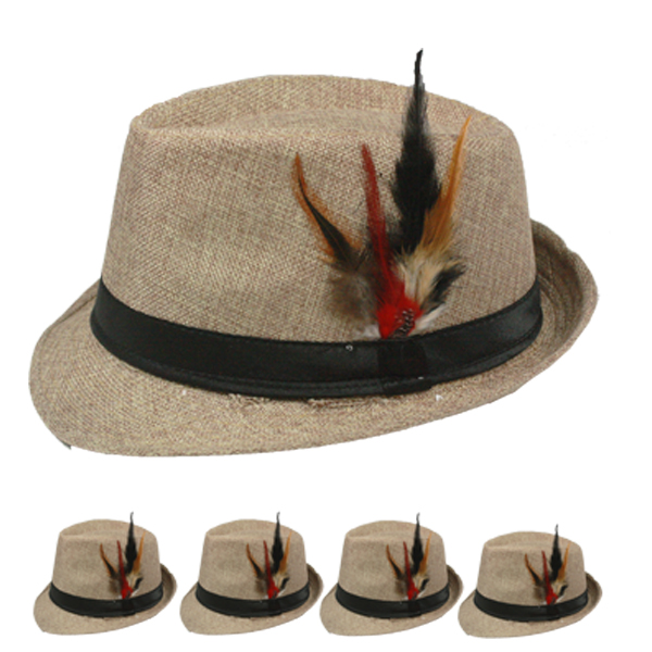 Rosy Brown Trilby Fedora Hat with Feather (106)