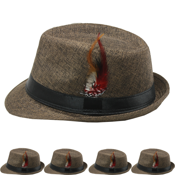 Dark Brown Banded Trilby Fedora Hat with Feather (107)