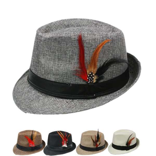 Trilby Fedora Hat Set with Feather Mix Color (108)
