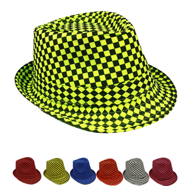 Mix Color Checkered Adult Trilby Fedora Party Hat (074)