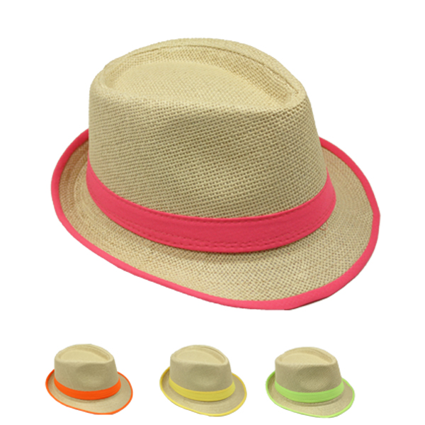 Trilby Straw Fedora Hat with Neon Color Strip Band (038)