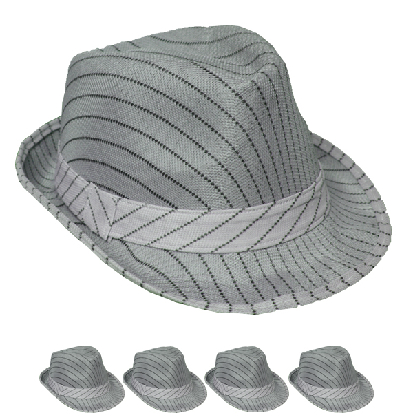 Black Pinstripes Gray Trilby Fedora Hat (082)