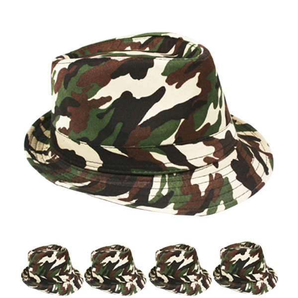 Adult Military Camo Design Trilby Fedora Hat (110)
