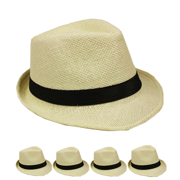 Classic Beige Color Toyo Straw Trilby Fedora Hat (114)