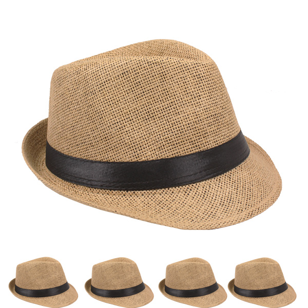 Classic Tan Color Toyo Straw Trilby Fedora Hat (115)