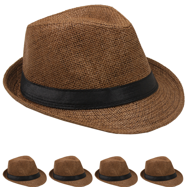 Classic Toyo Straw Trilby Fedora Hat Coffee Color (117)