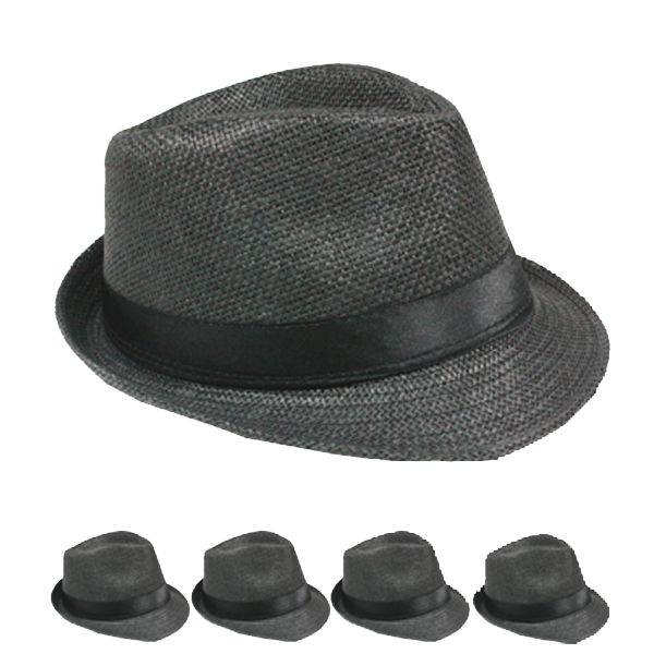Classic Toyo Straw Trilby Fedora Hat Black Color (118)
