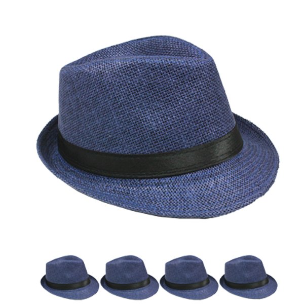 Classic Blue Color Toyo Straw Trilby Fedora Hat (120)