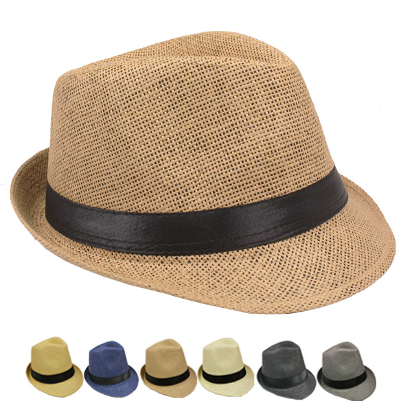 Classic Toyo Straw Trilby Fedora Hat Set Mix Color (121)
