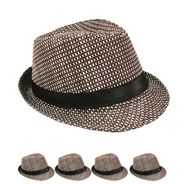 Classic Cuban Style Brown Trilby Fedora Hat (123)