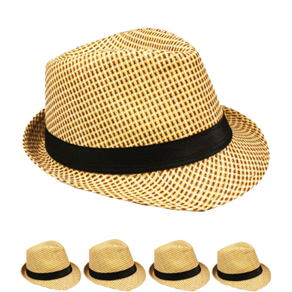 Classic Cuban Style Black Banded Trilby Fedora Hat (124)