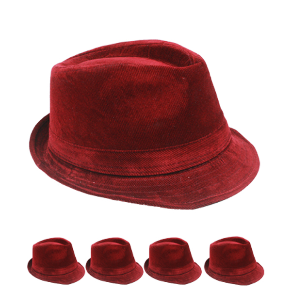 Solid Red Color Corduroy Trilby Fedora Hat (141)