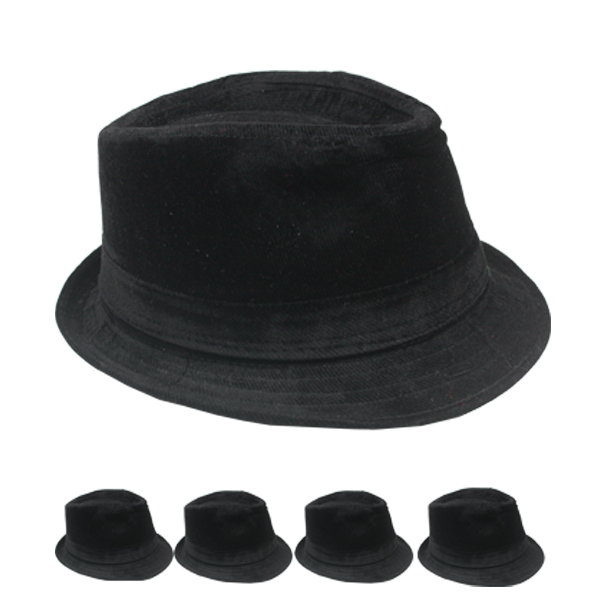 Solid Black Color Corduroy Trilby Fedora Hat (142)