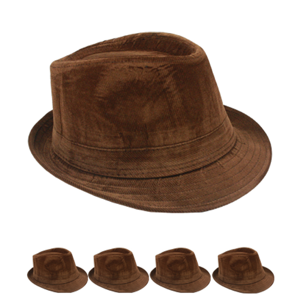Solid Brown Color Corduroy Trilby Fedora Hat (144)