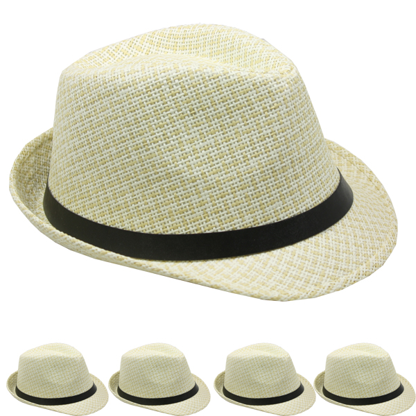 Antique White Classic Cuban Trilby Straw Fedora Hat (146)
