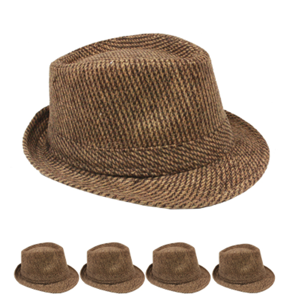 Solid Brown Color Corduroy Trilby Fedora Hat Set (154)