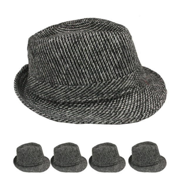 Gray Adult Casual Straw Braid Trilby Fedora Hat (027)