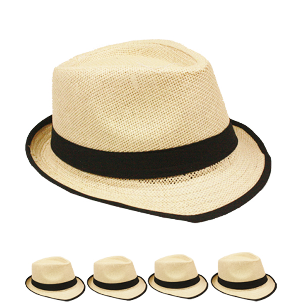 Brown Trilby Straw Fedora Hat with Black Strip Band (035)